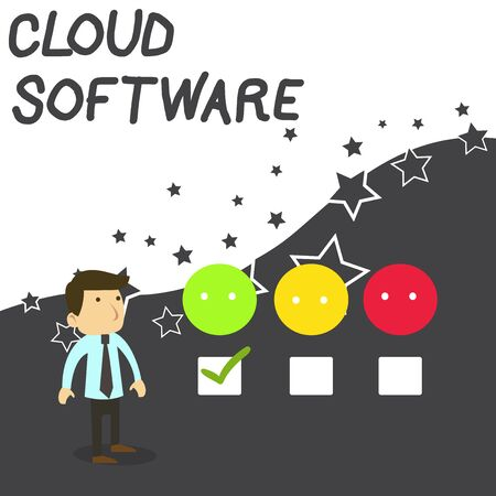Text sign showing Cloud Software. Business photo text Programs used in Storing Accessing data over the internet White Male Questionnaire Survey Choice Checklist Satisfaction Green Tick Banque d'images - 124997686