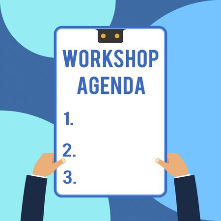 Conceptual hand writing showing Workshop Agenda. Concept meaning helps you to ensure that your place stays on schedule Male hands holding electronic device geometrical background