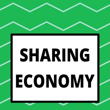 Writing note showing Sharing Economy. Business concept for economic model based on providing access to goods Big square background inside one thick bold black outline frame Banco de Imagens