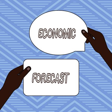 Handwriting text writing Economic Forecast. Conceptual photo Process of making predictions about the economy condition Two Blank Figured Tablets Signs Held in Hands One Above Other Text Space Foto de archivo - 124997700
