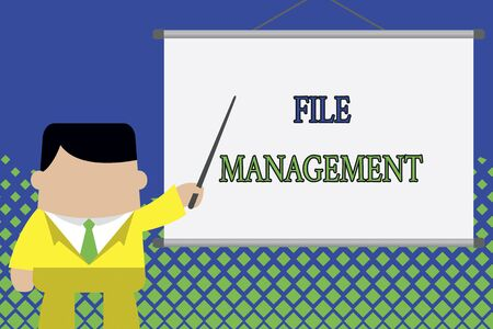 Writing note showing File Management. Business concept for computer program that provides user interface to analysisage data Businessman standing in front projector screen pointing project idea