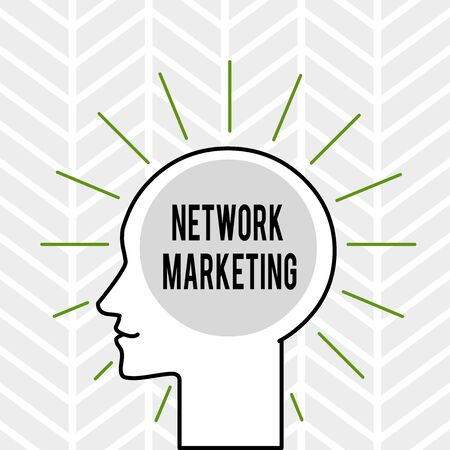 Handwriting text writing Network Marketing. Conceptual photo Pyramid Selling Multi level of trading goods and services Outline Silhouette Human Head Surrounded by Light Rays Blank Text Space