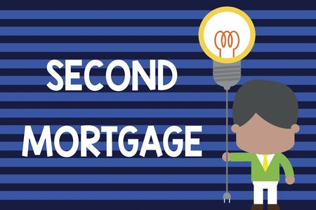 Writing note showing Second Mortgage. Business concept for lien on property which is subordinate to more senior one Standing man tie holding plug socket light bulb Idea Startup Stock Photo
