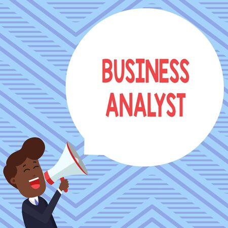 Word writing text Business Analyst. Business photo showcasing someone who analyzes big organization or website domain Young Man Shouting into Megaphone Floating Round Shape Empty Speech Bubble Reklamní fotografie - 124997711