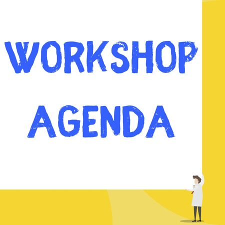 Writing note showing Workshop Agenda. Business concept for helps you to ensure that your place stays on schedule Young woman holding two hands right corner big rectangle Banco de Imagens