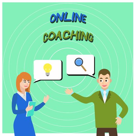 Conceptual hand writing showing Online Coaching. Concept meaning Learning from online and internet with the help of a coach Business Partners Colleague Jointly Seeking Problem Solution