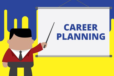 Handwriting text writing Career Planning. Conceptual photo A list of goals and the actions you can take to achieve them Businessman standing in front projector screen pointing project idea