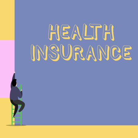 Word writing text Health Insurance. Business photo showcasing coveragethat pays for medicaland surgical expenses Back view young man climbing up staircase ladder lying big blank rectangle Zdjęcie Seryjne - 124997720