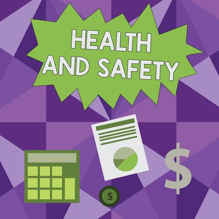 Conceptual hand writing showing Health And Safety. Concept meaning procedures intended to prevent accident in workplace Dollar Investment in Gold and Presenting Data thru Pie Chart Zdjęcie Seryjne - 124997725