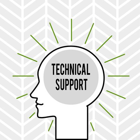 Handwriting text writing Technical Support. Conceptual photo Repair and advice services to users of their products Outline Silhouette Human Head Surrounded by Light Rays Blank Text Space Stockfoto - 124997728
