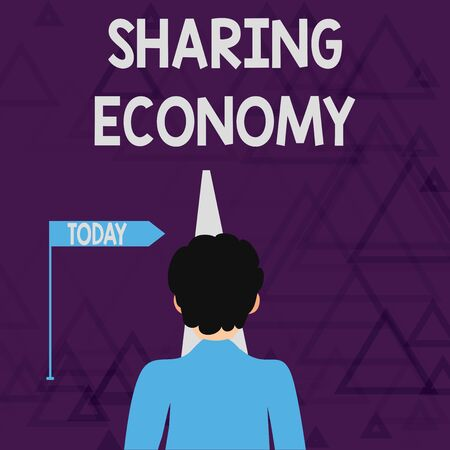 Writing note showing Sharing Economy. Business concept for economic model based on providing access to goods Man Facing Distance and Blocking the View of Straight Narrow Path Banco de Imagens