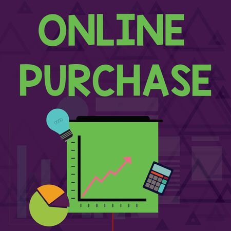 Writing note showing Online Purchase. Business concept for Purchases electronic commerce goods from over the Internet Investment Icons of Pie and Line Chart with Arrow Going Up