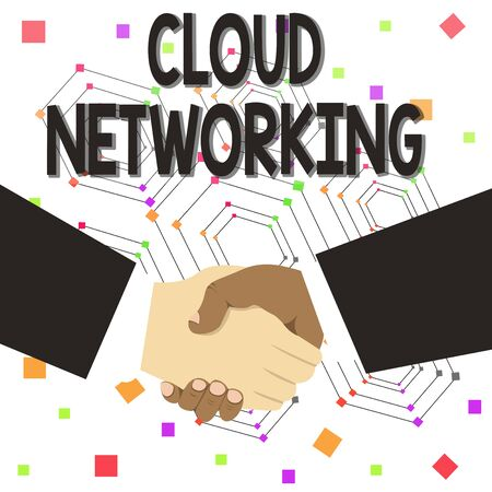 Text sign showing Cloud Networking. Business photo text is term describing access of networking resources Hand Shake Multiracial Male Business Partners Colleagues Formal Black Suits