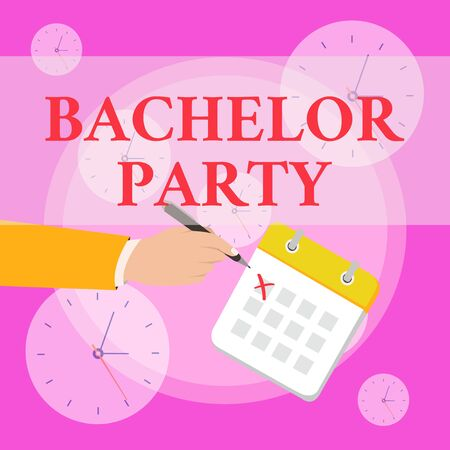 Writing note showing Bachelor Party. Business concept for Party given for a analysis who is about to get married Stag night Formal Suit Crosses Off One Day Calendar Red Ink Ballpoint Pen