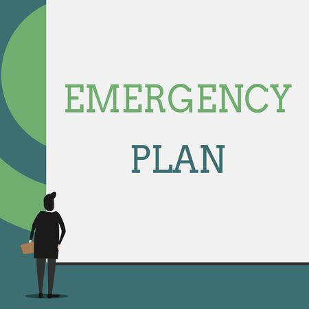 Text sign showing Emergency Plan. Business photo showcasing Procedures for response to major emergencies Be prepared Back view young woman watching blank big rectangle. Geometrical background Imagens