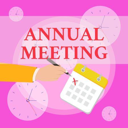 Escribir nota que muestra la reunión anual. Concepto de negocio para la reunión anual de una organización interesados accionistas Traje formal cruza un día Calendario Bolígrafo de tinta roja