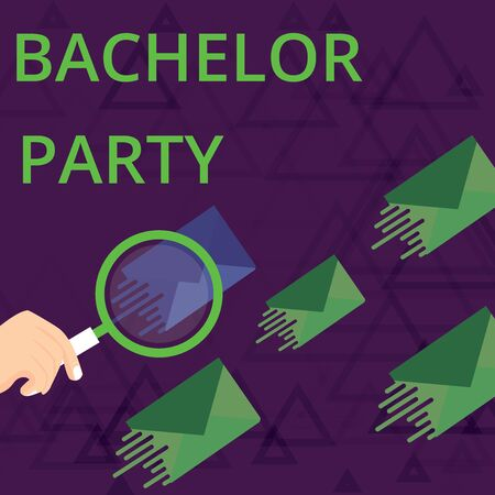 Text sign showing Bachelor Party. Business photo showcasing Party given for a analysis who is about to get married Stag night Magnifying Glass on One Different Color Envelope and others has Same Shade Stock Photo