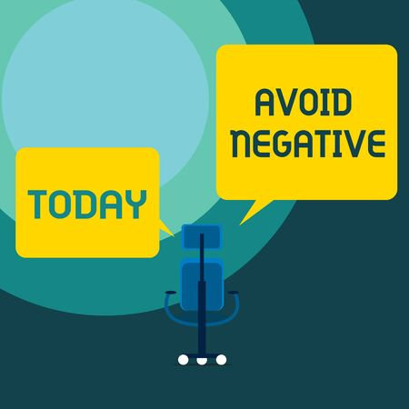 Conceptual hand writing showing Avoid Negative. Concept meaning Staying away from pessimistic showing Suspicious Depression Executive chair sharing two blank square speech bubbles side