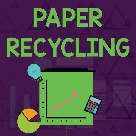 Writing note showing Paper Recycling. Business concept for Using the waste papers in a new way by recycling them Investment Icons of Pie and Line Chart with Arrow Going Up Stock Photo - 124840239