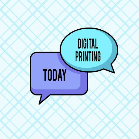 Word writing text Digital Printing. Business photo showcasing digital based images directly to variety of media Pair of Overlapping Blank Speech Bubbles of Oval and Rectangular Shape Standard-Bild