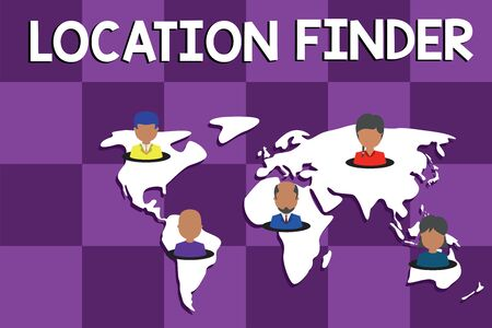Text sign showing Location Finder. Business photo text A service featured to find the address of a selected place Connection multiethnic persons all over world. Global business earth map