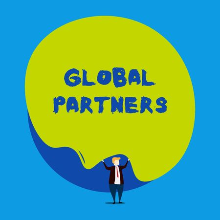 Conceptual hand writing showing Global Partners. Concept meaning Two or more firms from different countries work as a team Male human wear formal tuxedo hold asymmetrical shape bubble Stock Photo