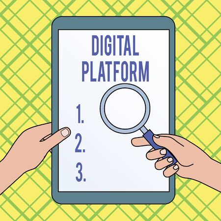 Writing note showing Digital Platform. Business concept for marketing campaign or branding new product service Hands Holding Magnifying Glass Against Switched Off Touch Screen Tablet