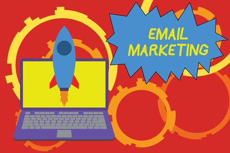 Conceptual hand writing showing Email Marketing. Concept meaning Sending a commercial message to a group of showing using mail Launching rocket up laptop Startup Developing goal objective Фото со стока