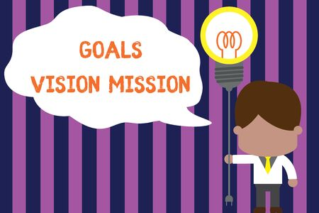 Text sign showing Goals Vision Mission. Business photo showcasing practical planning process used to help community group Standing man tie holding plug socket light bulb to connect idea. Startup Standard-Bild