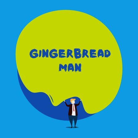Conceptual hand writing showing Gingerbread Man. Concept meaning cookie made of gingerbread usually in the shape of huanalysis Male human wear formal tuxedo hold asymmetrical shape bubble
