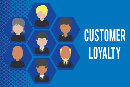 Word writing text Customer Loyalty. Business photo showcasing result of consistently positive emotional experience Pictures frames chief executive and staff. Organization employees structure