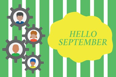 Handwriting text Hello September. Conceptual photo Eagerly wanting a warm welcome to the month of September Gearshaped picture frame family ornament mother father daughter son photo