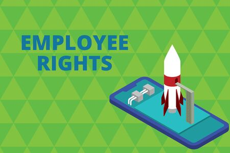 Word writing text Employee Rights. Business photo showcasing All employees have basic rights in their own workplace Ready to launch rocket lying smartphone. Startup negotiations to begin
