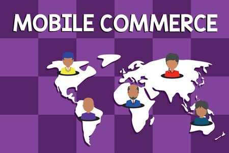 Text sign showing Mobile Commerce. Business photo text Using mobile phone to conduct commercial transactions online Connection multiethnic persons all over world. Global business earth map Фото со стока