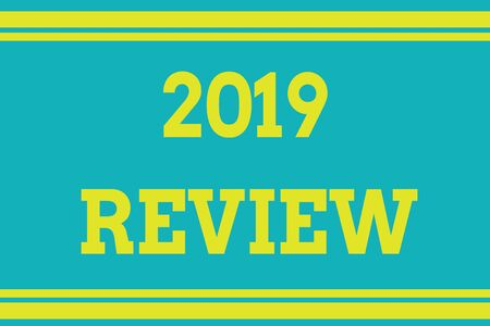 Word writing text 2019 Review. Business photo showcasing New trends and prospects in tourism or services for 2019 Seamless horizontal lines background drawing lines. Up and down stripes