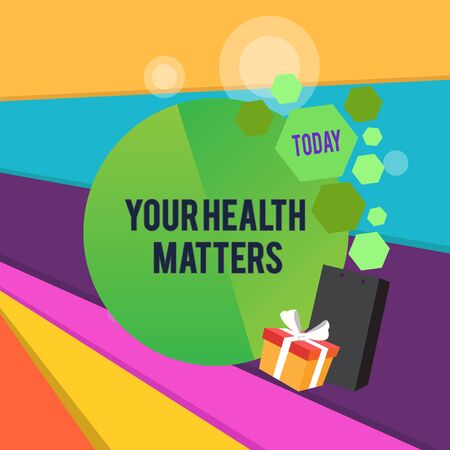Word writing text Your Health Matters. Business photo showcasing good health is most important among other things Greeting Card Poster Gift Package Presentation Box Decorated by Bowknot