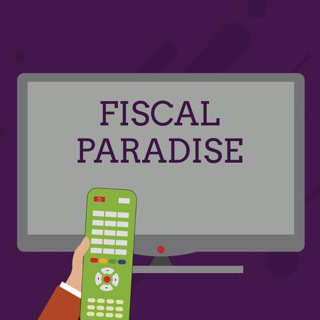 Word writing text Fiscal Paradise. Business photo showcasing The waste of public money is a great concern topic Hand Holding Computer Remote Control infront of Blank Wide Color PC Screen Standard-Bild
