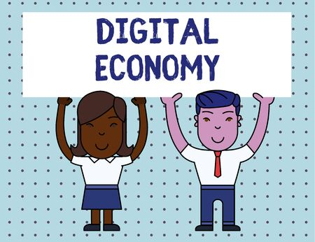 Conceptual hand writing showing Digital Economy. Concept meaning worldwide network of economic activities and technologies Two Smiling People Holding Poster Board Overhead with Hands Imagens
