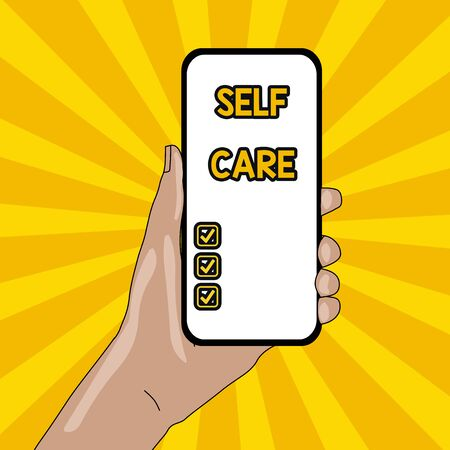 Text sign showing Self Care. Business photo text the practice of taking action to improve one s is own health Closeup of Smartphone Device Held in Hand with Empty Screen and Text Space Stock fotó