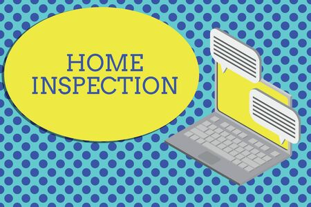 Conceptual hand writing showing Home Inspection. Concept meaning Examination of the condition of a home related property Laptop receiving sending information internet wireless