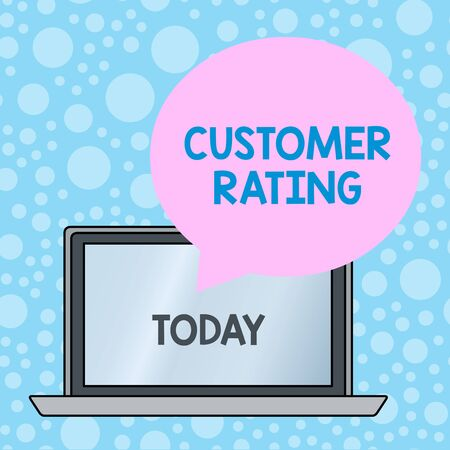 Writing note showing Customer Rating. Business concept for Each point of the customers enhances the experience Round Shape Speech Bubble Floating Over Laptop Backdrop