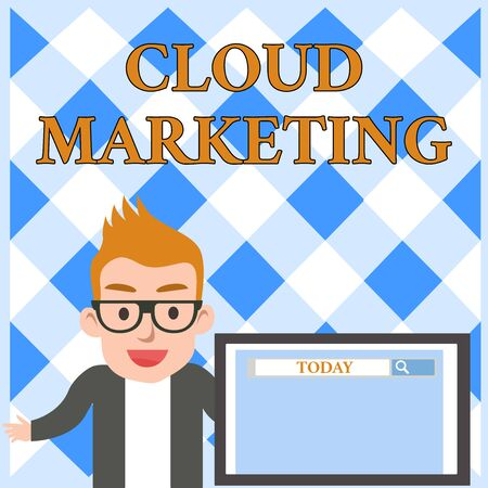 Conceptual hand writing showing Cloud Marketing. Concept meaning The process of an organisation to market their services Male Speaker Screen with Search Tool on Screen Presentation