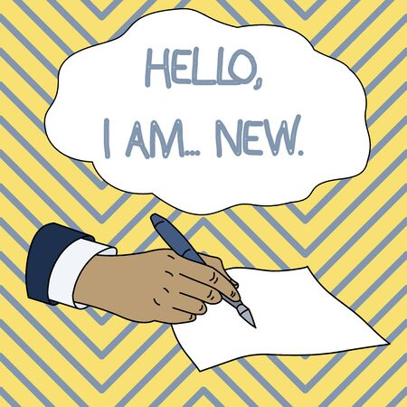 Conceptual hand writing showing Hello I Am New. Concept meaning introducing oneself in a group as fresh worker or student Male Hand Formal Suit Holding Ballpoint Pen Piece of Paper Фото со стока
