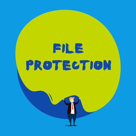 Conceptual hand writing showing File Protection. Concept meaning Preventing accidental erasing of data using storage medium Male human wear formal tuxedo hold asymmetrical shape bubble