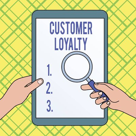 Writing note showing Customer Loyalty. Business concept for result of consistently positive emotional experience Hands Holding Magnifying Glass Against Switched Off Touch Screen Tablet