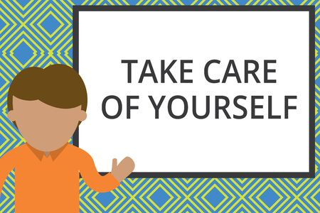 Conceptual hand writing showing Take Care Of Yourself. Concept meaning a polite way of ending a gettogether or conversation Man standing front whiteboard pointing to project photo Art