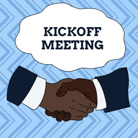 Text sign showing Kickoff Meeting. Business photo showcasing Special discussion on the legalities involved in the project Hand Shake Multiracial Male Business Partners Colleagues Formal Shirt Suit