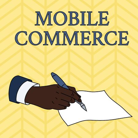 Word writing text Mobile Commerce. Business photo showcasing Using mobile phone to conduct commercial transactions online Male Hand Formal Suit Holding Ballpoint Pen Blank Piece of Paper Writing Фото со стока