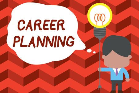 Writing note showing Career Planning. Business concept for Strategically plan your career goals and work success Standing man tie holding plug socket light bulb Idea Startup