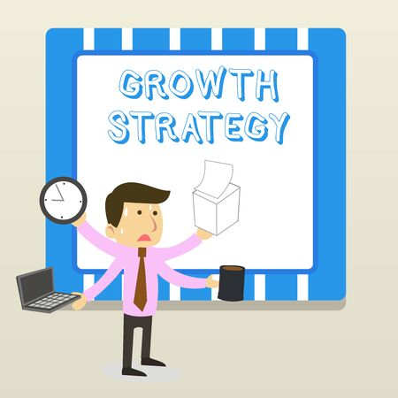 Word writing text Growth Strategy. Business photo showcasing Strategy aimed at winning larger market share in shortterm Stressed Out Male Employee Manager Many Armed Multitasking Meet Deadline